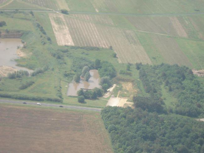 Vue aérienne du stand