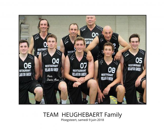 Neuf Heughebaert. C'est fort rare de voir une famille réunie ainsi dans une équipe de basket !