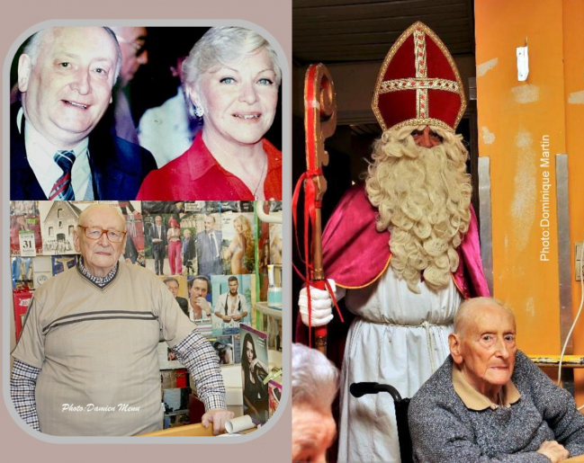 André connaissait bien Line Renaud. A droite, il est photographié quelques heures avant son décès. Nous l'aimions bien André !