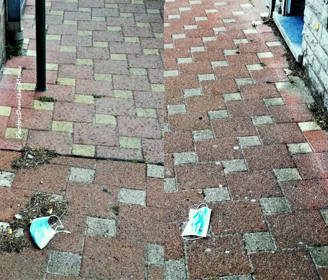 Les masques sont jetés sur les trottoirs.