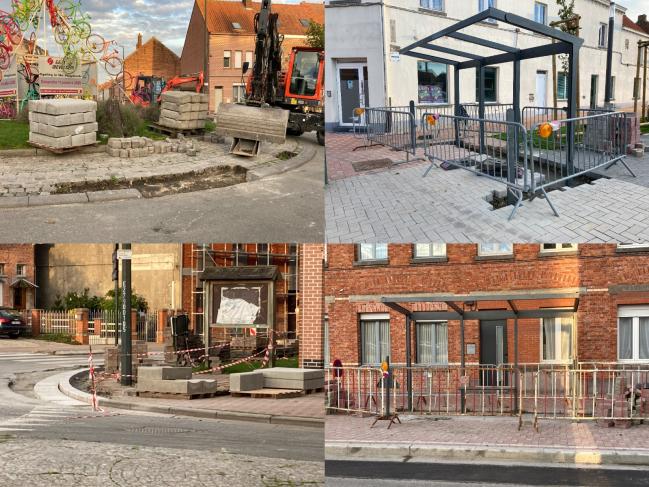 Deux abris de bus, le trottoir et le rond-point, le centre de Ploegsteert se modifie.