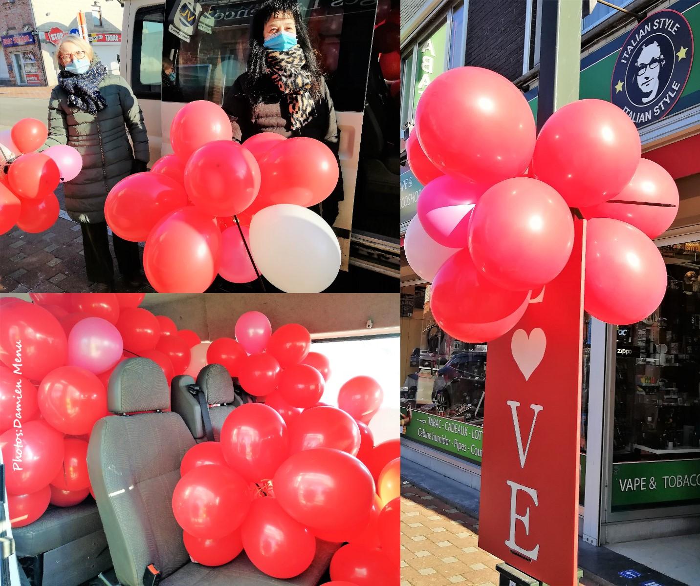 Vive les ballons rouges de la St-Valentin.  Des milliers dans toute l'entité de Comines-Warneton.