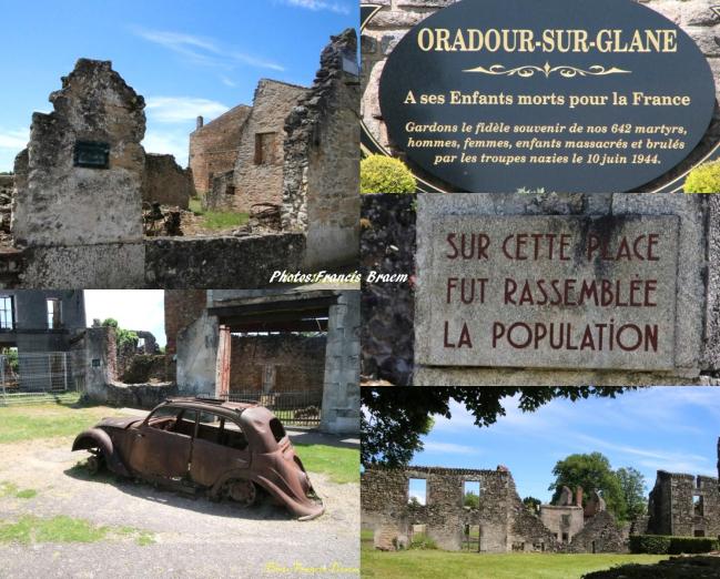 Le village est resté tel quel après le 10 juin 1944 ou toute la population d'Oradour-sur-Glane a été assassinée.