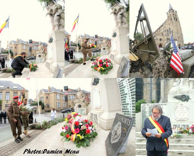 COMINES:Outre les gerbes déposées au pied du monument aux morts cominois un discours a été prononcé par Philippe Mouton ce dimanche en fin de matinée à l'issue de la cérémonie religieuse.