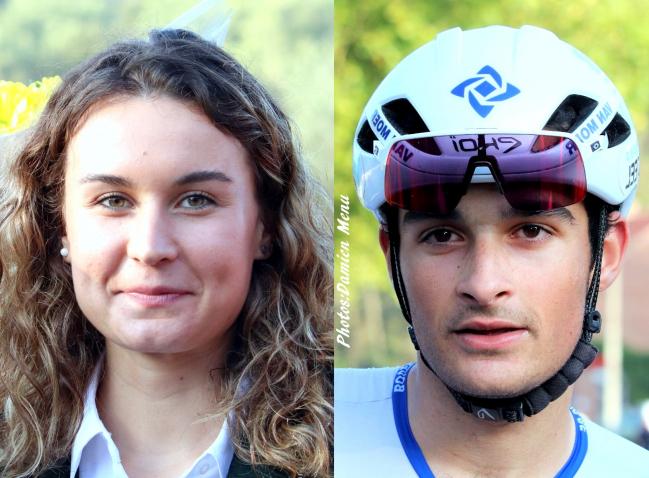 Alana Castrique(à gauche) championne de Belgique sur route(U23) a donné la bise au vainqueur du jour(à droite) Dylan Botterberg.