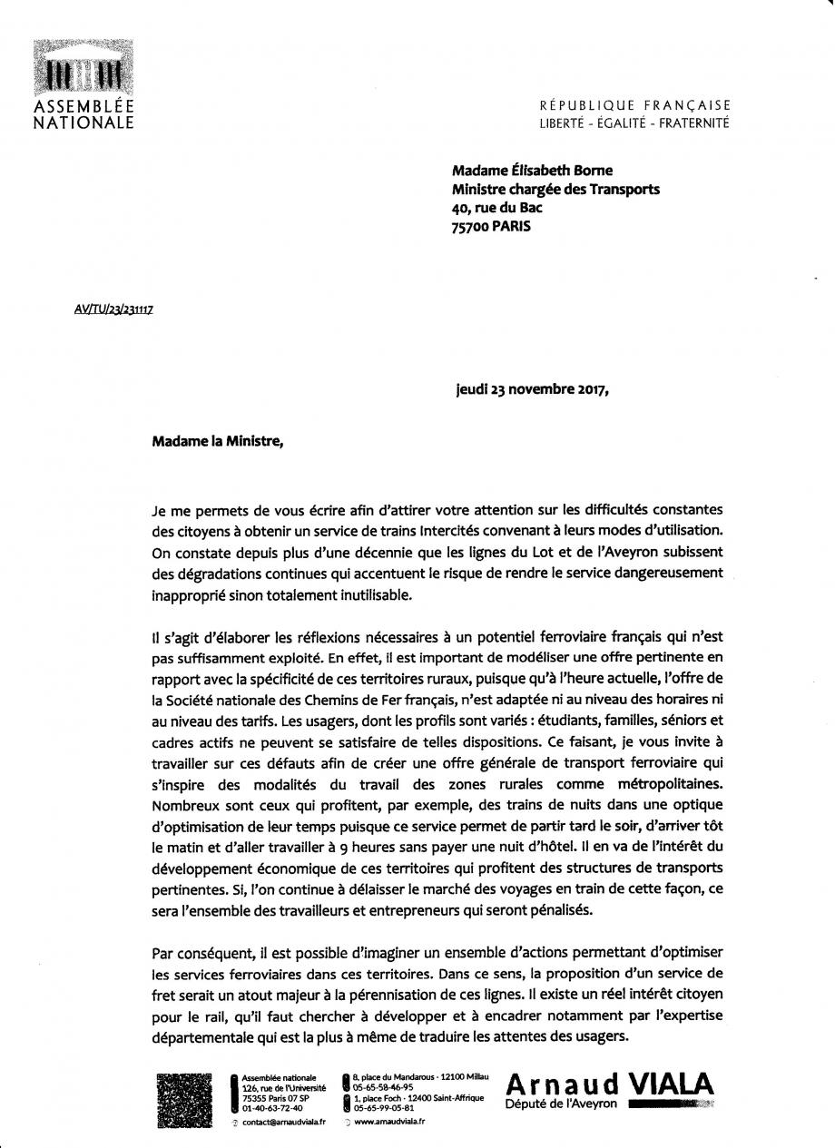 2017-11-23 Lettre Député Viala et Sénateur Marc à Ministre Borne p1.jpg