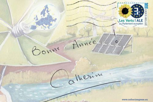 carte de voeux 2014 verso.Cliente : Eurodéputée Catherine Grèze