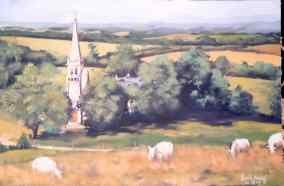 église et moutons de Bretagne