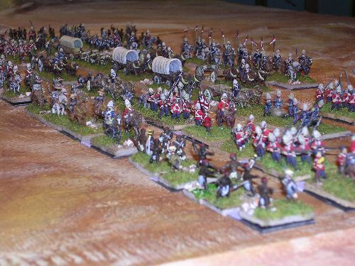 l\'infanterie couvre au maximum les chariots vital pour les troupes d\'invasion
