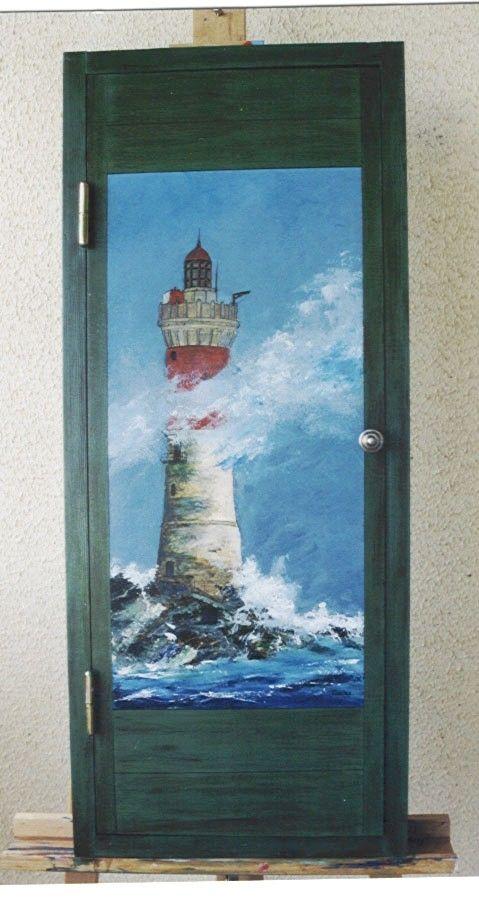 le phare ,peinture a l'huile sur une porte