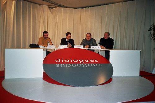 Débat à la Foire du Livre de Bruxelles. Valério Evangelisti, Graham Masterton, Christophe Corthouts, Willy Deweert