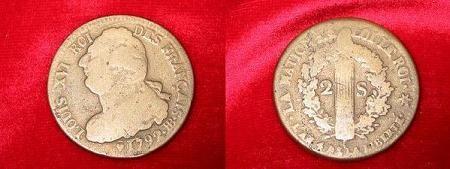 Piéce de 2 sols 1792