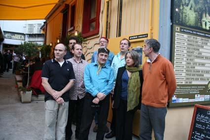 Tribute to Elton Dean,  2006. L to r : Pierre-Olivier Govin, Michel Delville, Patrice Meyer, Hugh Hopper, Didier Malherbe, Frank van Kooj, Sophia Domancich, Charles Calamel. (Photo F.Pearron)