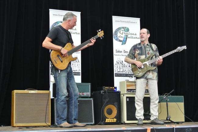 Patrice Meyer - Thierry Eckert endorsing HL guitars, salon Graines de Guitare (Fontainebleau France) July 6, 2014