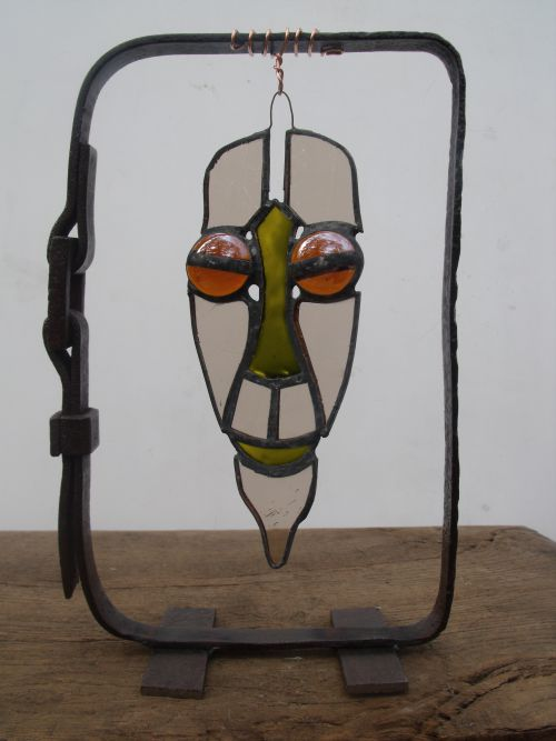 Masque. technique vitrail tiffany! 25cm. novembre 2012
