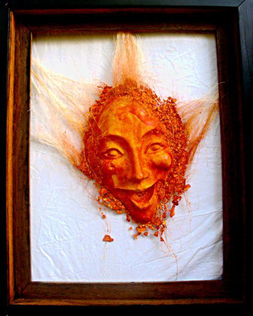éclate orange... déclinaison moulage plâtre . 80cm/50cm