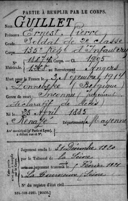 fiche Mort pour la France d'Ernest GUILLET.PNG