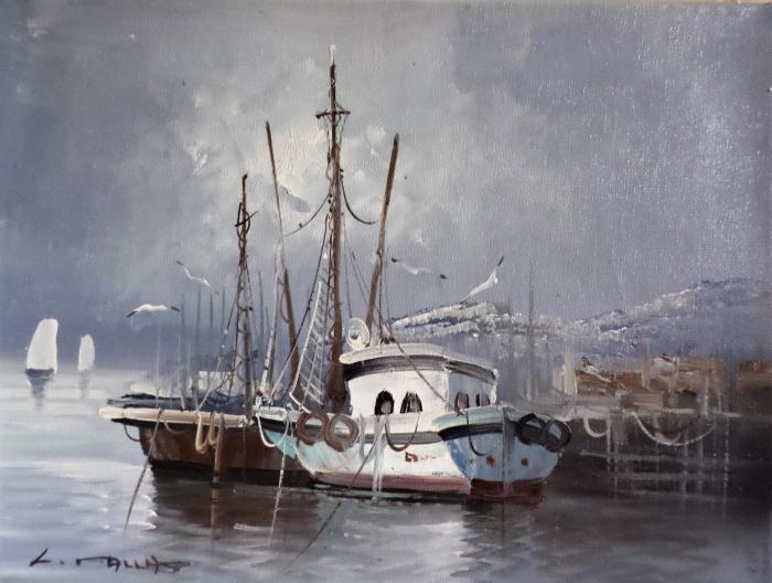 Bateaux à quai - signé illisible- 40x30cm