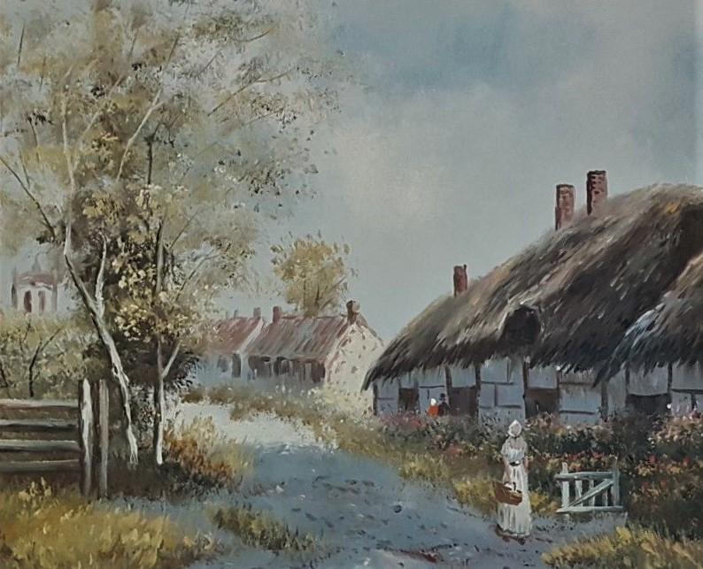 Charles Edouard-Village de campagne animé- 60x50cm-