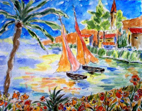 COLLECTION PARTICULIERE (FRANCE) AQUARELLE SUR PAPIER AQUARELLE FONTAINE 24 x 30 - 300 g