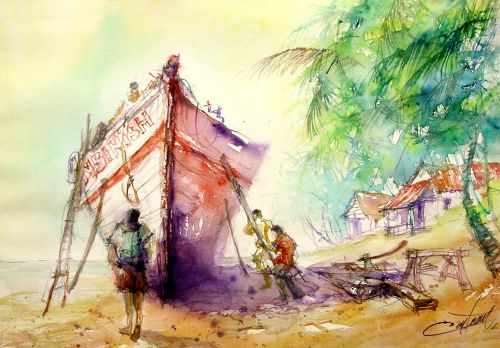 Chantier de marine au Kérala ( Indes)