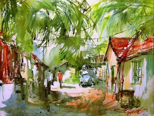 Village du Kérala ( Inde)