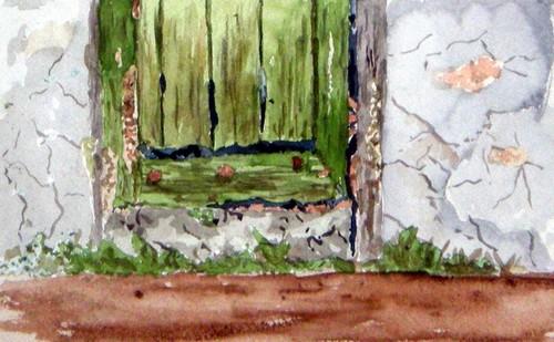 Vieille porte cache-chantier (détail)