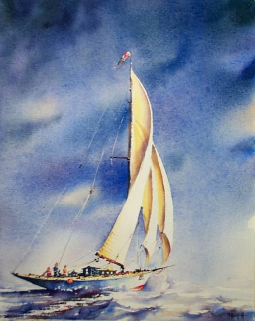 Pas A Pas Aquarelle Voilier Sous Ciel Tempete Accessible Aquarelle Marichalar Watercolor