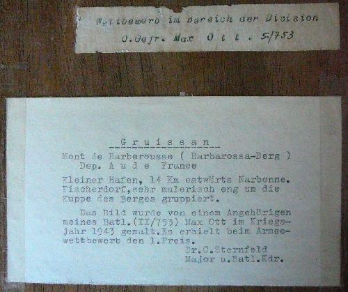 Document collé à l'arrière du tableau du soldat Allemand