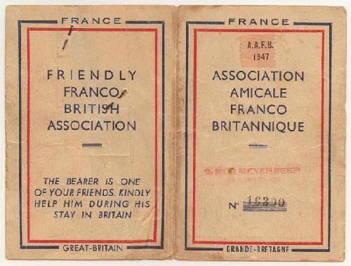 1947 : Carte d'adhérent de l'ANFB de 1947