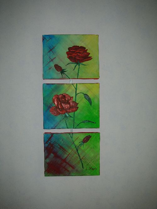 Roses rouges en tryptyques - huile