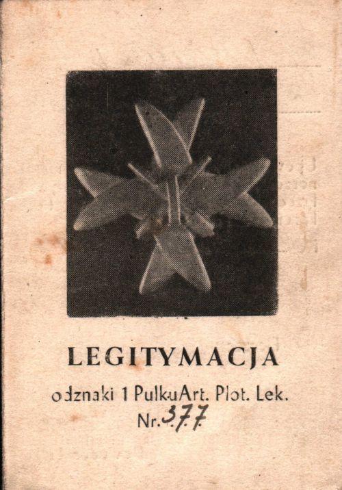 Legitymacja du 1er régiment d'artillerie antiaérienne