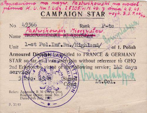 Campaign Star d'un soldat du bataillon de chasseurs de Podhale