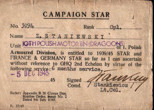 Campaign Star d'un caporal du 10ème Dragons