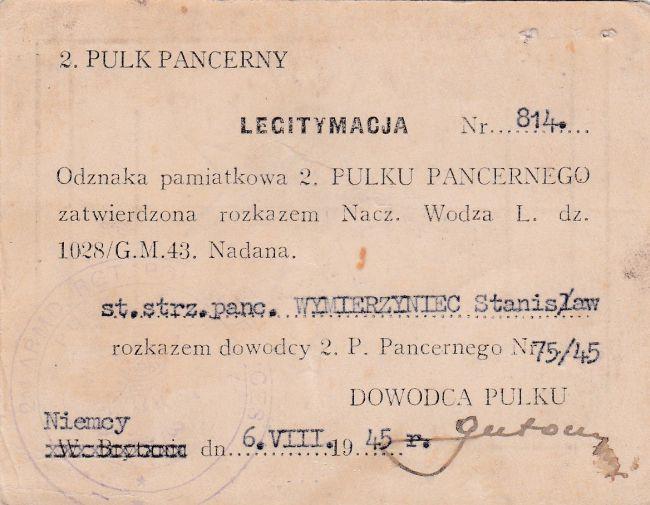 Legitymacja d'un soldat du 2ème régiment blindé