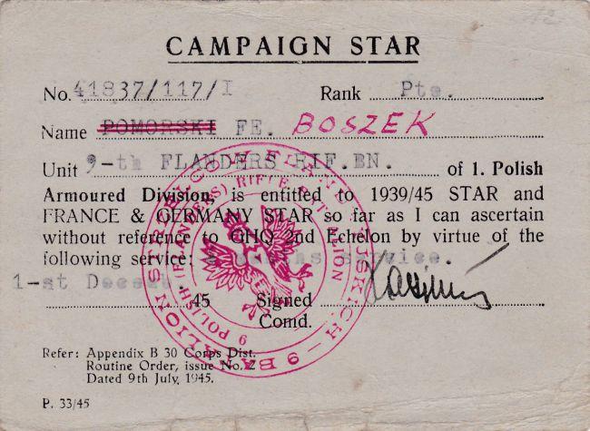 Campaign Star d'un soldat du 9ème bataillon de chasseurs