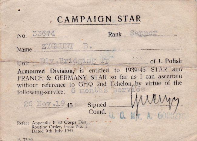 Campaign Star d'un soldat de la compagnie du génie