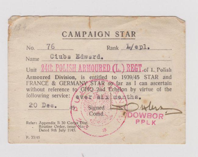 Campaign Star d'un soldat du 24ème régiment de Lanciers