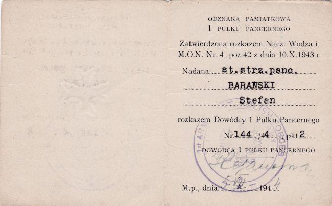 Legitymacja d'un soldat du 1er régiment blindé