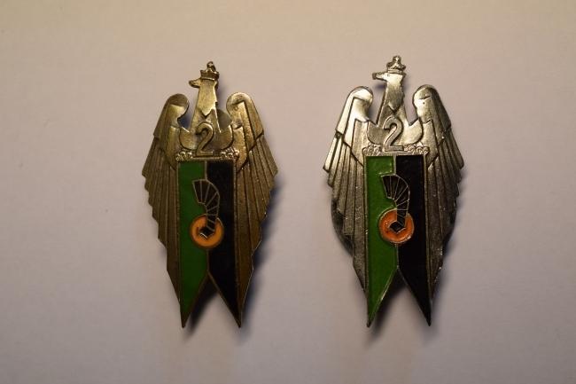 Insignes régimentaires de poitrine du 2ème PAMot