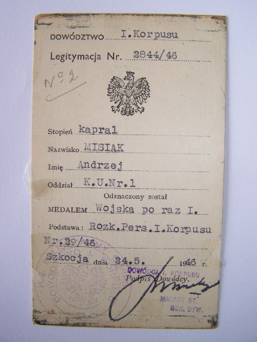 Legitymacja 1er Corps