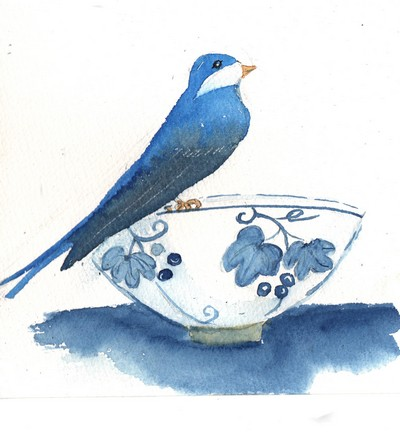5 - l'oiseau  bleu sur le bol.jpg