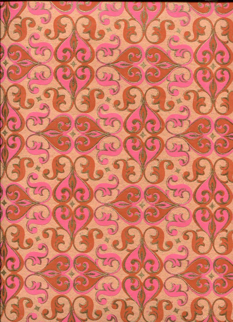 arabesque marron rose et or fond orange.jpg