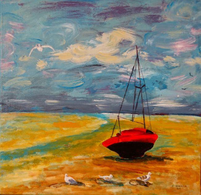 Barque   à marée basse sur le passage du Gois.
