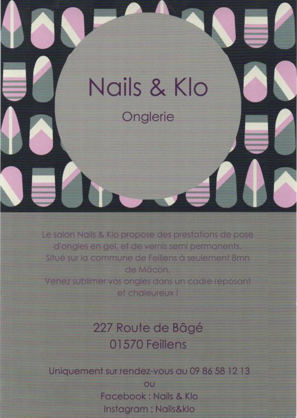 Nails & Klo, onglerie à Feillens près de Mâcon. Vous souhaitez prendre soin de vos mains et vous offrir une belle manucure ? Vous souhaitez chouchouter vos pieds avant votre départ en vacances ? Faites appel au service d'onglerie NAILS & KLO !
