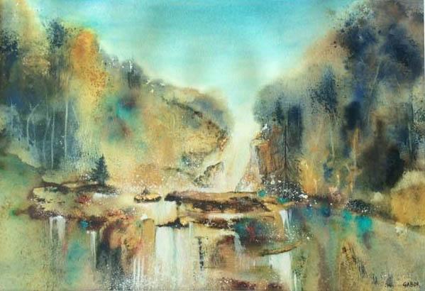 cascade d'Ars - aquarelle et feuille d'or blog.jpg