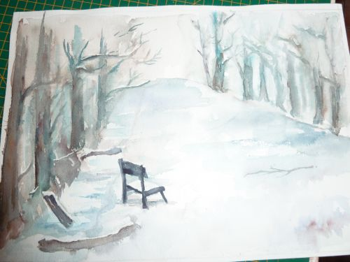 l'allée sous la neige