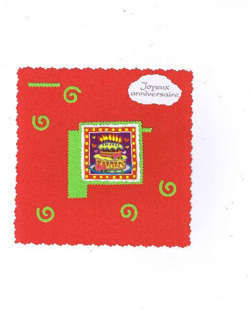 cartes simple rouge avec gateau