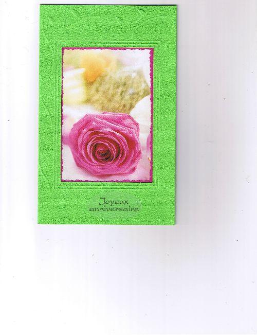 carte verte avec rose