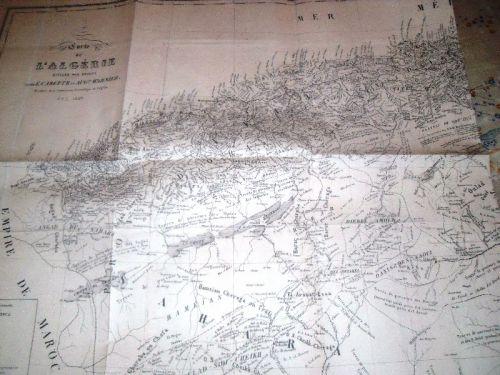 CARTE DE L'ALGERIE DIVISEE PAR TRIBUS-1846